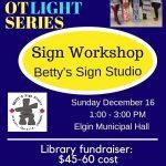 Spotlight Series – Elgin Afternoon Workshop